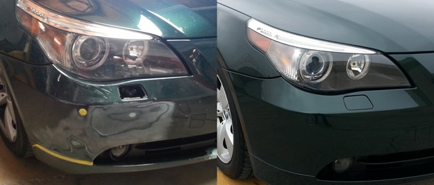 Before and After pictures of repaired BMW.